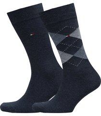 th men sock check 2-pack underwear socks regular socks svart tommy hilfiger