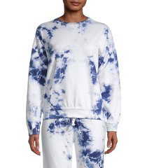 prince peter collection women's tie-dyed cotton sweatshirt - navy - size l