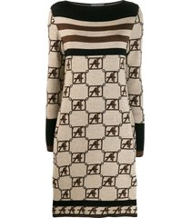 alberta ferretti knitted boat neck dress - neutrals