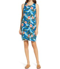 women's tommy bahama hibiscus isle floral linen shift dress, size large - blue