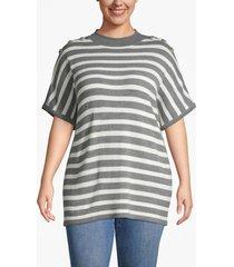 lane bryant women's button-shoulder mock neck poncho 22/24 varied stripe