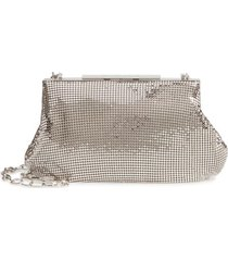 whiting & davis mesh frame clutch - metallic