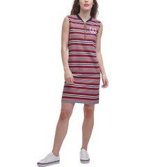 tommy hilfiger striped zip sleeveless dress