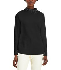 alfani embellished high-neck sweater, created for macy's