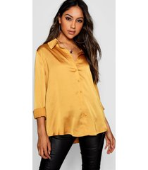 woven satin oversized long sleeve shirt, mustard