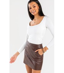 luna vegan leather mini skirt - brown