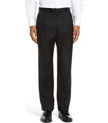 men's big & tall zanella bennett straight leg pleated dress pants, size 46 x - black