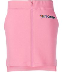moschino embroidered logo zip-up skirt - pink