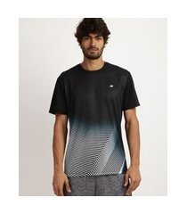 camiseta masculina esporte ace estampada geométrica com proteção uv 50+ manga curta e gola careca preta