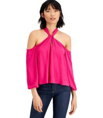bar iii keyhole cold-shoulder top, created for macy's