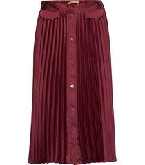 pleated midi skirt with placket knälång kjol röd scotch & soda