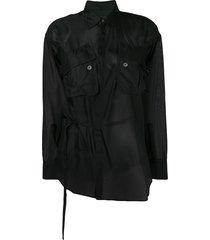 dsquared2 sheer tie waist shirt - black