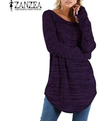 zanzea mujeres cuello redondo de manga larga tapas ocasionales blusa de la camisa floja de la vendimia -púrpura