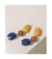 brinco feminino alongado com pedras dourado