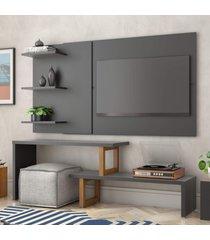 painel e rack para tv atreus preto amãªndoa casah - preto - dafiti
