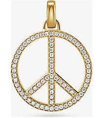 mk ciondolo simbolo pace oversize in argento sterling placcato oro 14k e pavé - oro (oro) - michael kors
