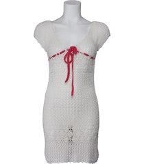 phard gehaakte jurk - abito tricot motunga - wit