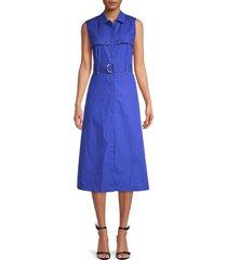 karl lagerfeld paris women's belted a-line shirtdress - blue - size 10