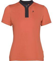 turf zip ss women t-shirts & tops polos orange peak performance