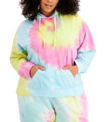 full circle trends trendy plus size tie-dyed hoodie sweatshirt