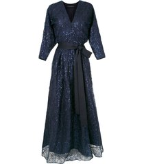 gloria coelho embroidered gown - blue