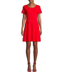 parker women's hamilton cutout knit flare dress - ruby - size s