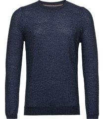sweater mini stickad tröja m. rund krage blå tom tailor