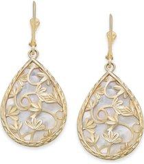 mother-of-pearl teardrop filigree drop earrings in 14k gold