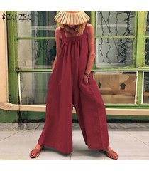 zanzea verano de las mujeres de tiras playsuit romper el traje flojo holgado llanura mono -rojo