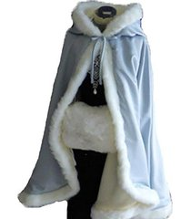 sky blue short women fur winter warm hood cape shawl wedding cloak christmas par