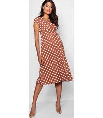 maternity polka dot wrap dress, terracotta