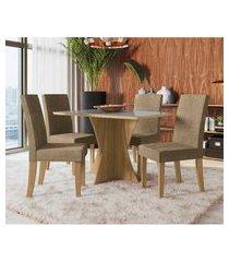 sala de jantar figueira kappesberg d005 mesa com 4 cadeiras freijó/inox