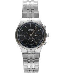 roland garros orologio multifunzione in acciaio silver con quadrante nero per uomo