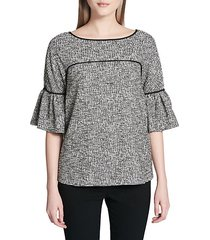 bell-sleeve piped tweed top