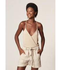 body transpassado regata lurex cream mob feminino