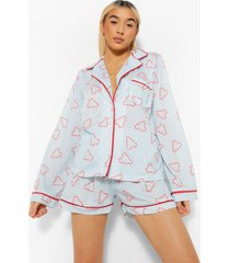 mix & match candy cane pyjama shorts, blue