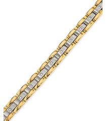 men's diamond (1/4 ct.t.w.) bracelet in stainless steel and yellow ip
