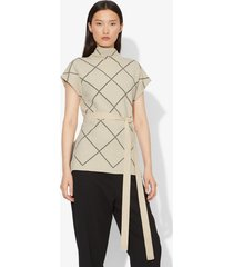 proenza schouler windowpane short sleeve knit top ecru/black/neutrals m