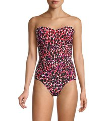 dkny women's abstract-print one-piece swimsuit - paradise multi - size 12