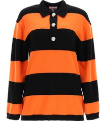 ganni striped sweater with jewel buttons