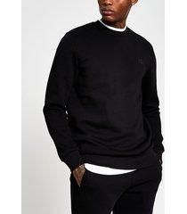 river island mens black slim long sleeve 'rr' crew sweatshirt