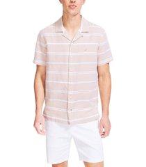 nautica men's classic-fit textured stripe linen camp shirt