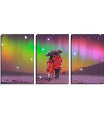 conjunto de 3 telas pump up decorativas casal com guarda-chuva sob céu colorido montada: 90x185cm (a-l) único