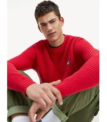 tommy hilfiger men's tommy badge sweater racing red - xl