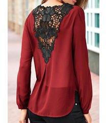 yoins abrigo de retazos de encaje burdeos diseño blusa de manga larga con cuello de pico