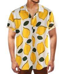 hombres verano algodón fruta hawaiana playa vacaciones camisa