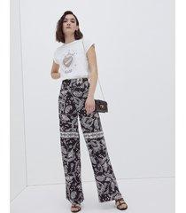 motivi pantaloni larghi fantasia foulard donna nero