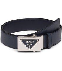 prada triangle logo belt - black