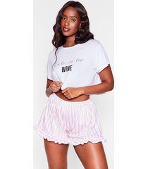 womens wake me for wine plus tee and shorts pajama set - white