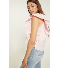 motivi camicia con maxi rouches donna rosa